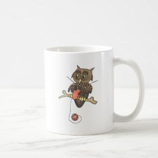 owl and yarn knifty knitter basic white mug