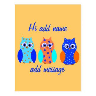 Owl Cards cute and customizable Postcard