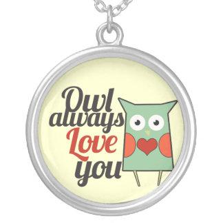 Owl Love Round Pendant Necklace