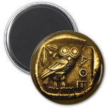 Owl on ancient greek coin 6 cm round magnet
