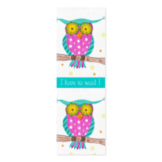 Owl with flowery eyes tiny bookmarks pack of skinny business cards