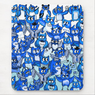 Owls crowd blue mouse pad