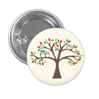 Owls in Tree 3 Cm Round Badge