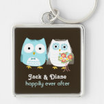 Owls Wedding Couple - Cute Bride and Groom Silver-Colored Square Key Ring