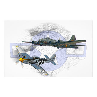 P-51 Mustang flying escort Personalized Stationery