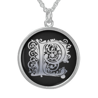 """P Initial Monogram """"Silver Lace on Black"""" Necklace"""