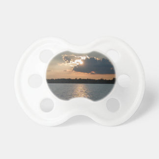 pacifiers with photo of silver-lining sunset