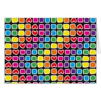 padrão com quadrados em zig zag coloridos greeting card