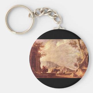 Paesaggio', Giuseppe Zais_Landscapes Basic Round Button Key Ring