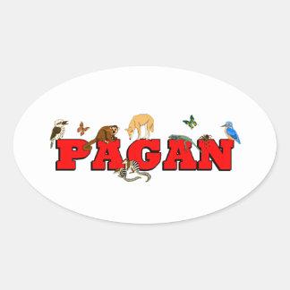Pagan Animals Oval Sticker