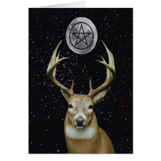 Pagan Yule Winter Solstice Stag, Moon and Pentacle Greeting Card