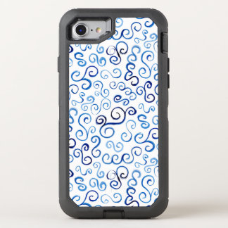 Painted Blue Abstract Curvy Pattern OtterBox Defender iPhone 7 Case