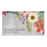 Painted Florals Business Card / Pink & Grey