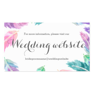 Painted watercolor feathers wedding website pack of standard business cards