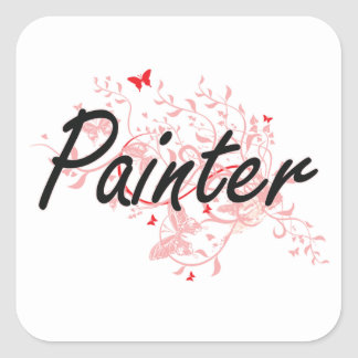 Painter Artistic Job Design with Butterflies Square Sticker