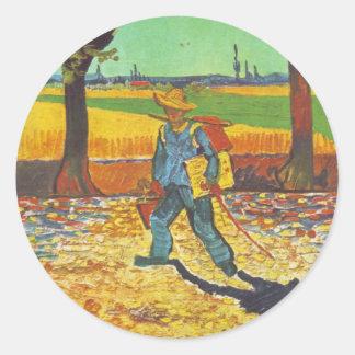Painter on His Way to Work Round Sticker