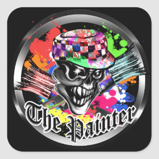Painter Skull: The Painter Square Sticker