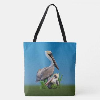 Pair of Brown Pelicans Customizable Tote Bag