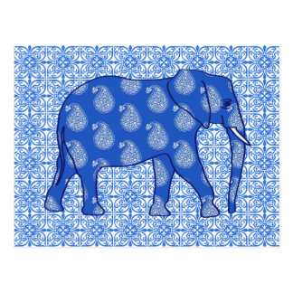 Paisley elephant - cobalt blue and white postcard