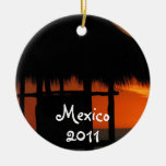Palapa at Sunset; Mexico Souvenir Round Ceramic Decoration