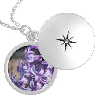 Pale Purple Hyacinth Round Locket Necklace