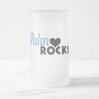 Palin Rocks My Heart Frosted Glass Mug