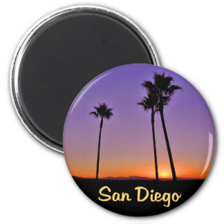 Palm Tree Silhouette In San Diego 6 Cm Round Magnet