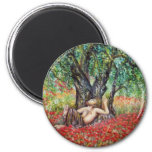 PAN, OLIVE TREE AND POPPY FIELDS 6 CM ROUND MAGNET