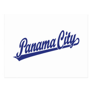 Panama City script logo in blue Postcard