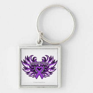Pancreatic Cancer Awareness Heart Wings.png Silver-Colored Square Key Ring