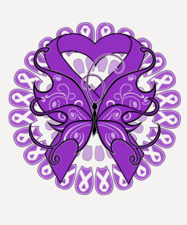 Pancreatic Cancer Butterfly Circle of Ribbons T-shirt