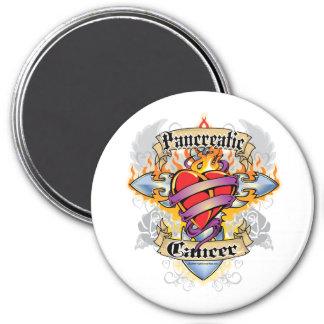 Pancreatic Cancer Cross & Heart 7.5 Cm Round Magnet