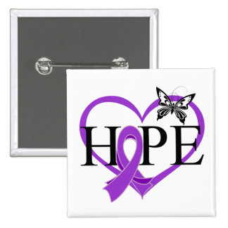 Pancreatic Cancer Hope Butterfly Heart Décor 15 Cm Square Badge