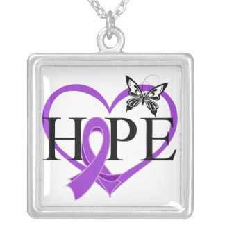 Pancreatic Cancer Hope Butterfly Heart Décor Square Pendant Necklace