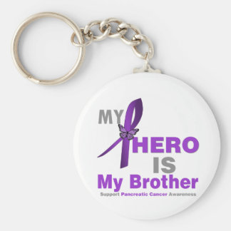 Pancreatic Cancer My Hero is My Brother Basic Round Button Key Ring