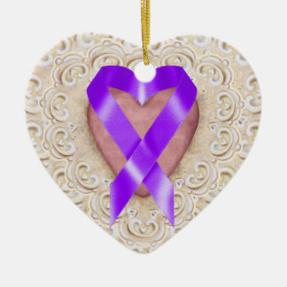 Pancreatic Cancer Ribbon From the Heart - SRF Ceramic Heart Decoration