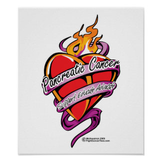 Pancreatic Cancer Tattoo Heart Poster