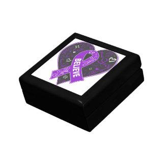 Pancreatitis Believe Ribbon Heart Small Square Gift Box