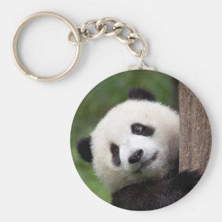 Panda Bear Cub Basic Round Button Key Ring