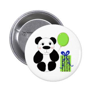 Panda Bear with Green Balloon 6 Cm Round Badge