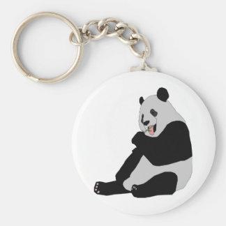 panda bears basic round button key ring