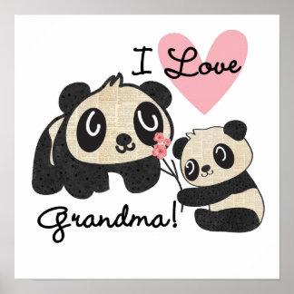 Panda Bears I Love Grandma Poster