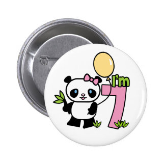 Panda Girl 7th Birthday 6 Cm Round Badge