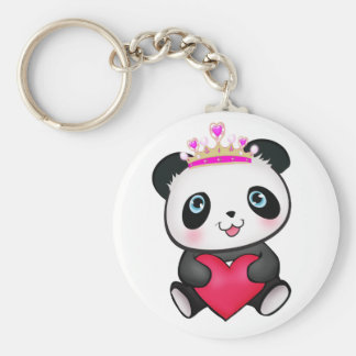 Panda Lover Fan Gift Valentine's Day Heart Present Basic Round Button Key Ring