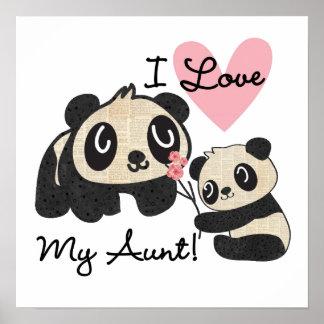 Pandas I Love My Aunt Poster