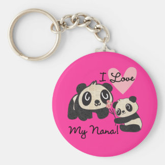 Pandas I Love My Nana Basic Round Button Key Ring