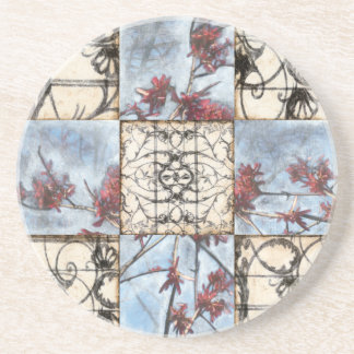Paneled Abstract Scrollwork Painting Coasters