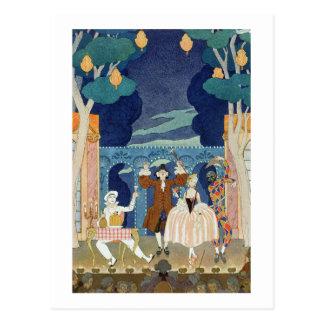 Pantomime Stage, illustration for 'Fetes Galantes' Postcard