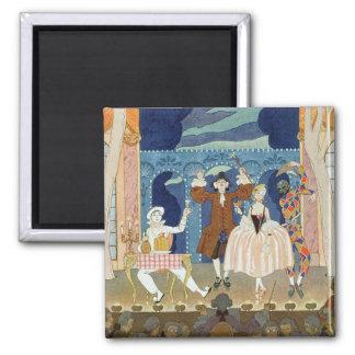 Pantomime Stage, illustration for 'Fetes Galantes' Square Magnet