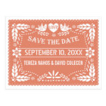 Papel picado lovebirds peach wedding Save the Date Postcard